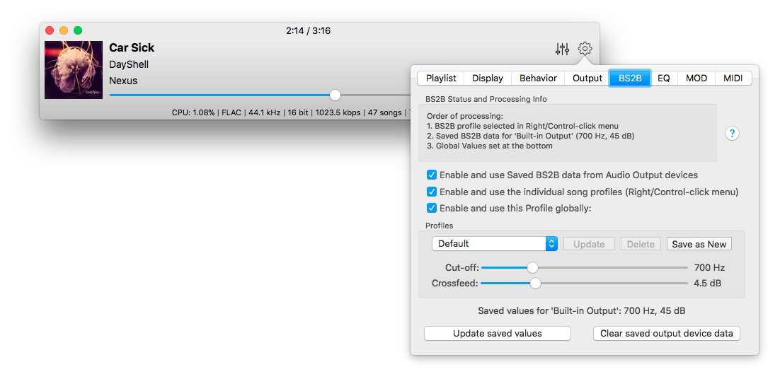 BS2B Settings for Colibri